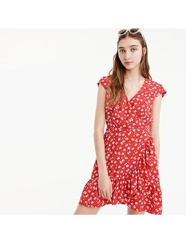 Ruffle Faux Wrap Dress In Fresh Daisies by J.Crew