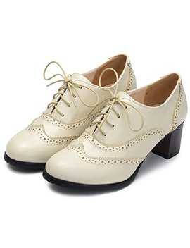 Odema Womens Pu Leather Oxfords Brogue Wingtip Lace Up Chunky High Heel Shoes Dress Pumps Oxfords by Odema