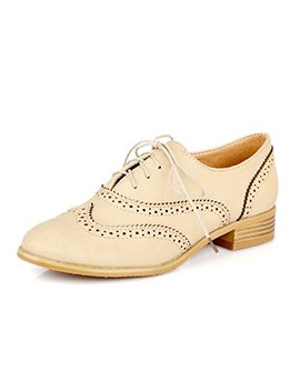 Susanny Women Classic Modern Sweet Low Heel Lace Up Carving Wingtip Pu Brogue Oxfords Dress Shoes by Susanny