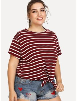 Knot Front Striped Tee by Shein