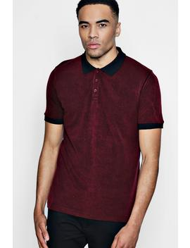 Short Sleeve Textured Polo Shirt by Boohoo