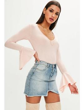 blush-ribbed-sporty-bikini-top-mix-and-match by missguided