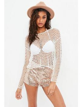 White Open Stitch Crochet Sweater by Missguided