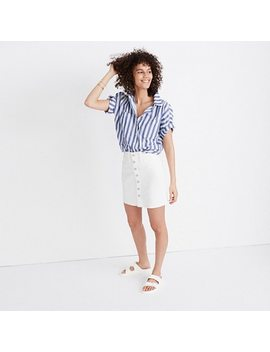 Button Front Straight Jean Skirt In Tile White by Madewell
