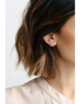 Halo Again Gold And Pearl Rhinestone Earrings by Lulus
