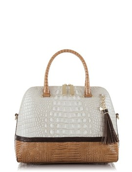 Sydney Croc Embossed Leather Satchel by Brahmin