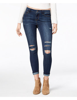 Juniors' Ripped Cuffed Skinny Ankle Jeans, Created For Macy's by American Rag