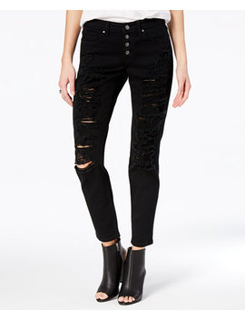 Juniors' Jamie Ripped Cuffed Relaxed Fit Girlfriend Jeans by Black Daisy