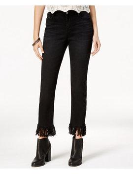 Juniors' Frayed Hem Straight Leg Jeans by Black Daisy