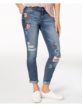 Juniors' Ripped Embroidered Cuffed Skinny Jeans by Rewash