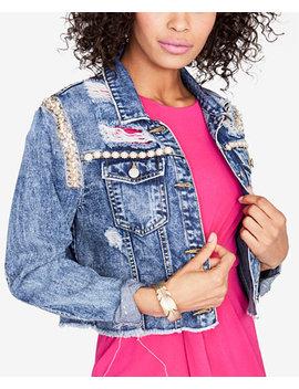 Embellished Cropped Denim Jacket, Created For Macy's by Rachel Rachel Roy