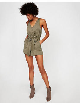 Silky Soft Twill Utility Romper by Express