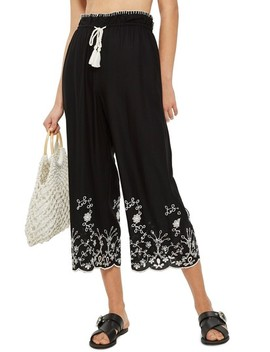 Embroidered Crop Wide Trousers by Topshop