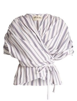 Gathered Striped Cotton Wraparound Top by A.W.A.K.E.