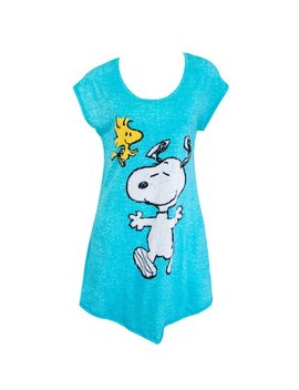 Snoopy And Woodstock Women's Blue Long Night Shirt by Peanuts