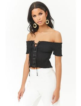 Smocked Lace Up Top by Forever 21