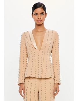 Peace + Love Nude Studded Blazer Jacket by Missguided