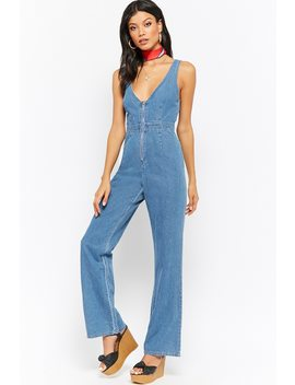 Zippered Denim Jumpsuit by Forever 21