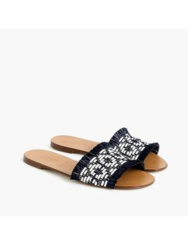 Slide Sandals In Black And White Raffia by J.Crew