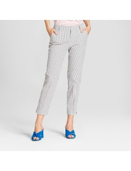 Women's Striped Lurex Seersucker Slim Ankle Pants   A New Day™ Gray/White by A New Day™