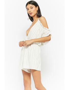 Pinstriped Open Shoulder Romper by F21 Contemporary