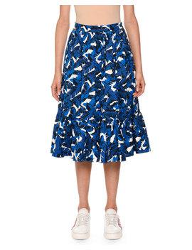 Palm Print Pleated Midi Skirt by Msgm
