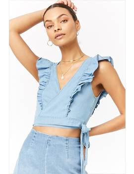 Chambray Flounce Wrap Top by F21 Contemporary