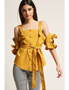 Open Shoulder Button Front Top by F21 Contemporary