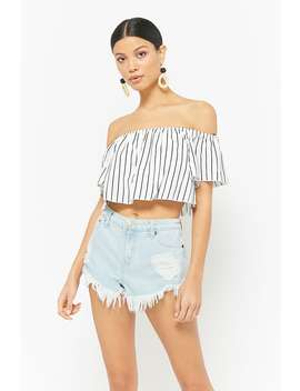 Frayed Distressed Denim Shorts by F21 Contemporary