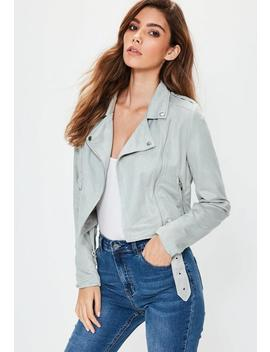 Petite Faux Suede Biker Jacket Gray by Missguided