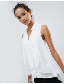 Qed London Sleeveless Shirt With Draping by Top