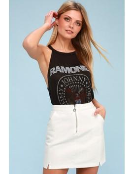 Leigh White Denim Mini Skirt by Lulus