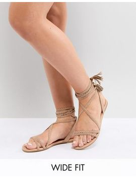 Asos Design Fayla Wide Fit Tie Leg Plaited Flat Sandals by Asos Design