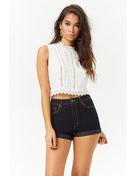 Eyelet Mock Neck Top by Forever 21