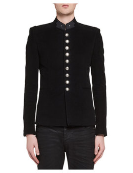 Officer Cotton Military Jacket, Black by Saint Laurent
