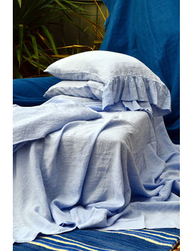 Luxurious Sky Blue Stonewashed Linen Fitted Sheet by Etsy