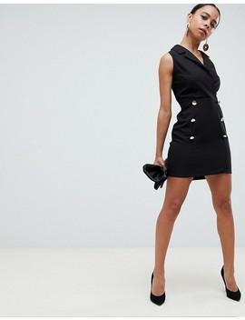 Asos Design Petite Ultimate Sleeveless Mini Tux Dress by Asos Design