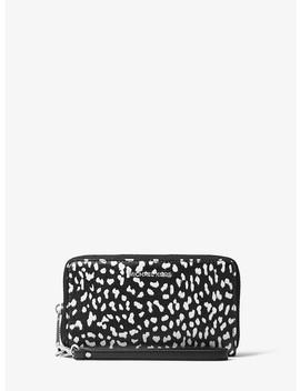Jet Set Travel Leopard Leather Smartphone Wristlet by Michael Michael Kors