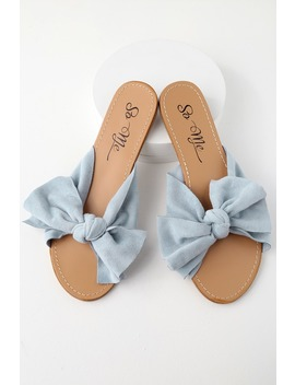 Josie Blue Suede Knotted Slide Sandals by Lulu's
