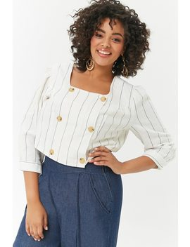 Plus Size Pinstriped Double Breasted Top by Forever 21