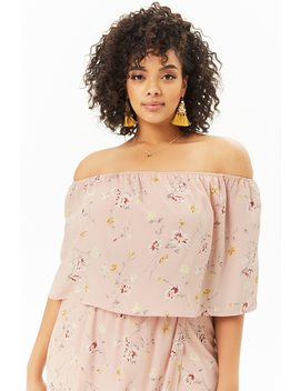 Plus Size Floral Off The Shoulder Crop Top by Forever 21