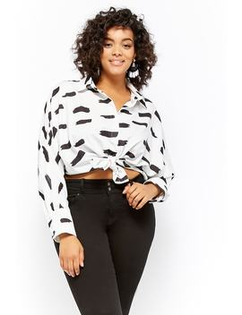 Plus Size Brushstroke Print Shirt by Forever 21