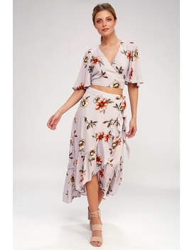 Heyday Lavender Floral Print Two Piece Wrap Midi Dress by Lulus