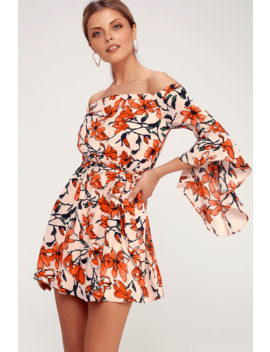 Blushing Blooms Nude Floral Print Off The Shoulder Dress by Lulus