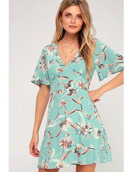 Floret Aqua Floral Print Short Sleeve Dress by Lulus
