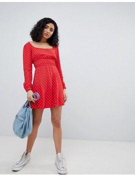 Bershka Polka Dot Dress In Red by Bershka