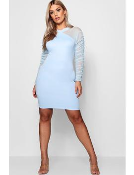 Plus Nancy High Neck Scuba Ruched Mini Dress by Boohoo