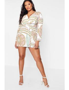 Plus Layla Printed Knot Detail Dress by Boohoo