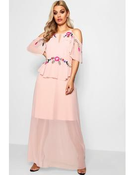 Plus Elle Boutique Embroidered Ruffle Maxi Dress by Boohoo