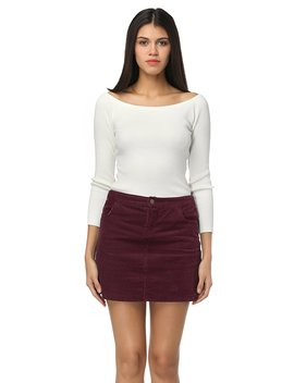 Clarisbelle Women High Waist Corduroy Pocket Skirt Zip Closure Skirt by Clarisbelle
